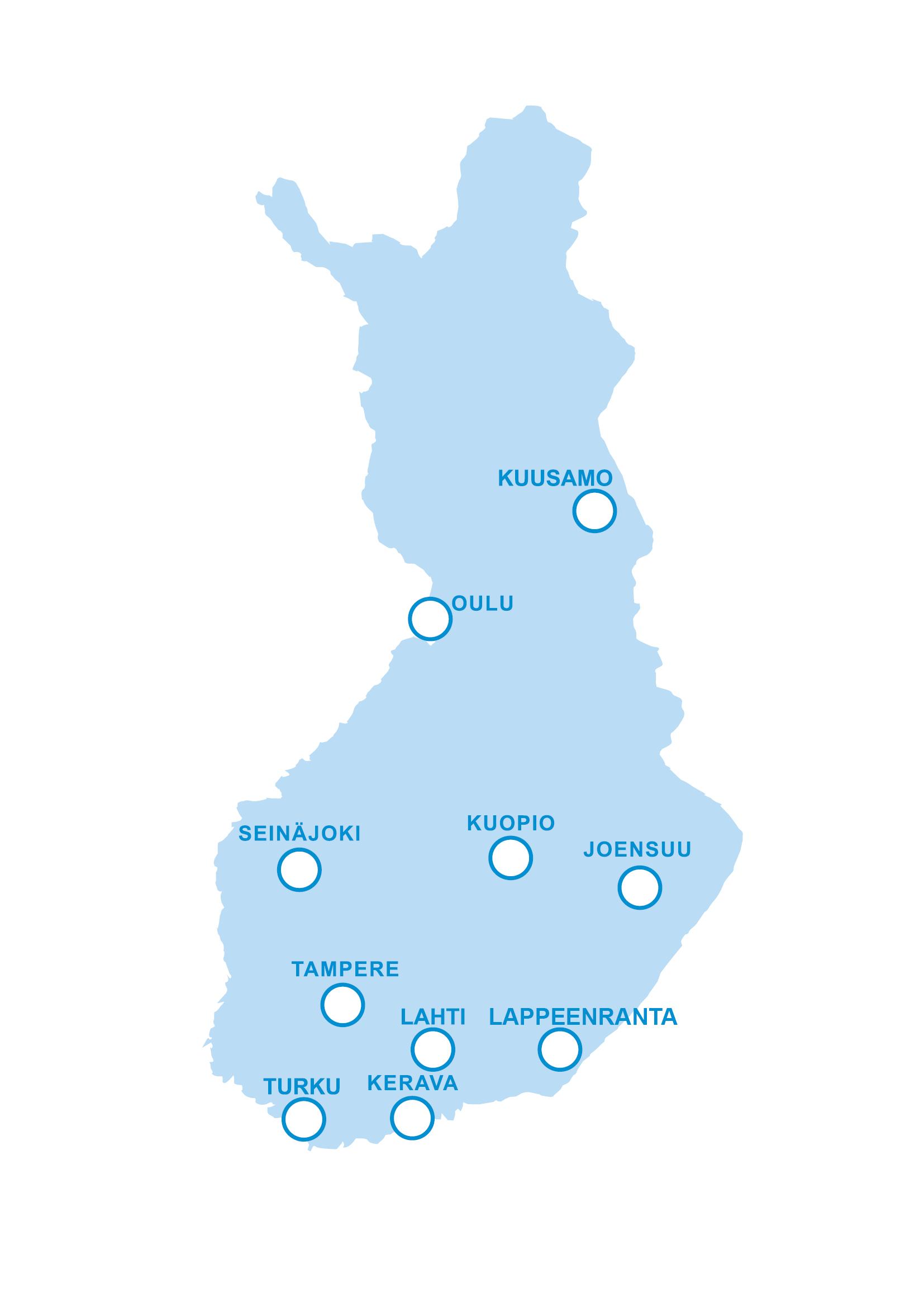 Tässä on HyXon toimipisteet eri puolilla Suomea